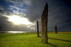 The Stones of Stenness, ancient stone circle in Orkney (now Scotland)